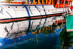 Wooden Boats Reflection Abstract Inner Harbor British Columbia C Royalty Free Stock Photography