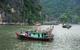 Wooden boats on the sea at Cat Ba island in Haiphong, Vietnam Stock Image