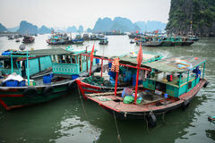 Wooden boats on the sea at Cat Ba island in Haiphong, Vietnam Royalty Free Stock Image