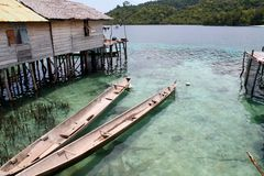 Wooden boats in Togian islands. Sulawesi Royalty Free Stock Image