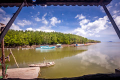 Wooden boats for tourists near the mangroves forest ,Thailand Royalty Free Stock Image