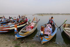 Wooden boats in Ubein bridge Stock Image