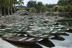 Wooden boats waiting for tourists at Tam coc, Vietnam Stock Photo