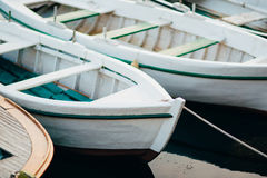 Wooden boats on the water. In the Bay of Kotor in Montenegro. Ma Stock Photo