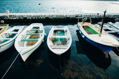 Wooden boats on the water. In the Bay of Kotor in Montenegro. Ma Stock Image