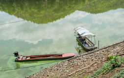 Wooden boats on the water in lake Stock Image