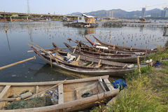 Wooden boats in the water village Royalty Free Stock Photo