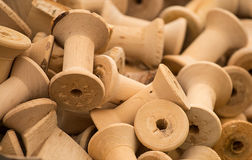 Wooden bobbins Stock Photo