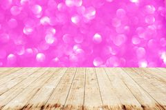 Wooden with Bokeh abstract background wallpaper glitter.  royalty free stock image