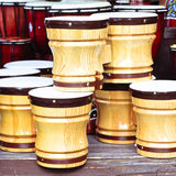 Wooden bongos Stock Photo