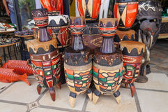 Wooden bongos in a traditional african shop. South Africa Royalty Free Stock Image