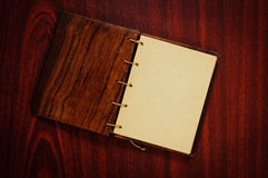 Wooden book on dark Stock Photos