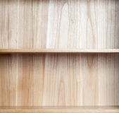 Wooden book shelf. Empty wooden book shelf, Close-up Royalty Free Stock Image