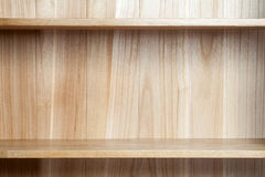 Wooden book shelf. Empty wooden book shelf, Close-up Royalty Free Stock Photos