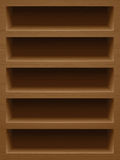 Wooden shelf background. Textured wood, wooden bookshelf. Commercial usage, empty shelf for magazine alignment. Background for smartphone and tablet apps Royalty Free Stock Image