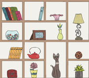 Wooden book shelves pattern background. Different colorful hand drawn items. Wooden shelves pattern background. Different colorful hand drawn items EPS10 Royalty Free Stock Photos