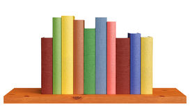 Wooden bookshelf with books Stock Images