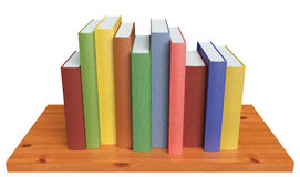 Wooden bookshelf with colored books Royalty Free Stock Images