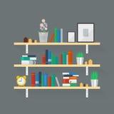 Wooden Bookshelf Stock Photography