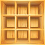 Wooden bookshelf, vector background. Empty wooden bookshelf, photo realistic vector background Stock Photography