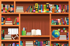 Wooden Bookshelves. A vector illustration of wooden bookshelves with copyspace vector illustration