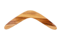 Wooden Boomerang. A Brown Wooden Boomerang Isolated on a White Background Stock Image