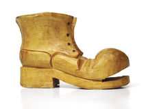 Wooden Boot. Carved wooden boot on white Royalty Free Stock Image