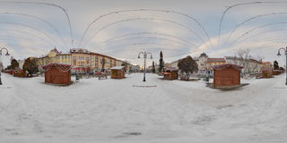 Wooden Booths in Roses` Square Piața Trandafirilor, Târgu Mureș. 360 panorama of decorated wooden booths in winter daytime in a snow-covered Piața Stock Photography