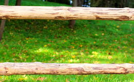 Wooden border grass Stock Photography