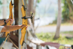 Wooden bow aiming Royalty Free Stock Photos