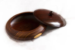 Wooden Bowl. Artisan crafted wooden serving dish and lid royalty free stock photography