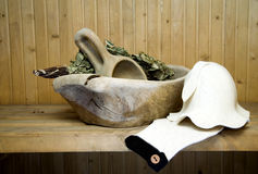 Wooden bowl for bathhouse Royalty Free Stock Images