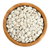 Wooden bowl with beans isolated on white background. Royalty Free Stock Photography
