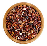 Wooden bowl with beans isolated on white background. Stock Photography