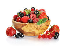 Wooden bowl with berries mix Royalty Free Stock Photography