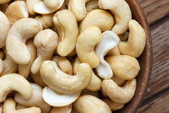 Wooden bowl of cashew nuts from above. Stock Photography