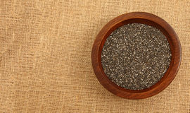 Wooden Bowl With Chia Seeds Royalty Free Stock Images
