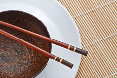 Wooden bowl with chopsticks 1 Stock Photo