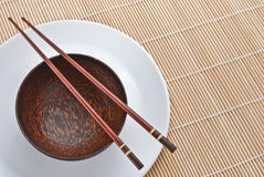 Wooden bowl with chopsticks 2 Stock Photo