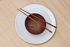 Wooden bowl with chopsticks 3 Royalty Free Stock Photo