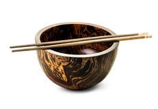 Wooden bowl and chopsticks isolated Royalty Free Stock Image