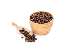 Wooden bowl with coffee beans Stock Photos
