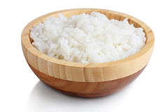 Wooden bowl of cooked rice Royalty Free Stock Photography