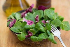 Wooden bowl with corn salad leaves and radicchio Stock Photo
