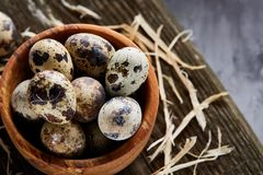 Wooden bowl filled with quail eggs on wooden board over white background, close-up, selective focus. Wooden bowl filled with fresh quail eggs and some hay on Stock Image