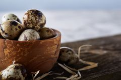 Wooden bowl filled with quail eggs on wooden board over white background, close-up, selective focus. Wooden bowl filled with fresh quail eggs and some hay on Royalty Free Stock Photo