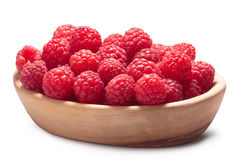 Wooden bowl of fresh raspberries. Clipping paths, shadow separated, infinite depth of field. Design element Royalty Free Stock Photos