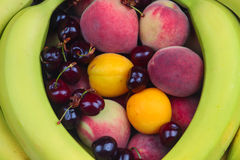 Wooden Bowl of Fruits royalty free stock photos