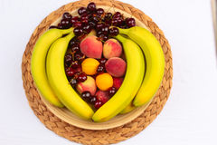 Wooden Bowl of Fruits Stock Image