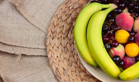 Wooden Bowl of Fruits Stock Images